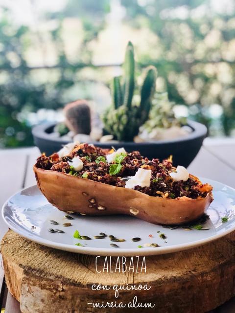calabaza asada rellena de quinoa