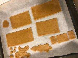 Casita de galletas de jengibre y canela