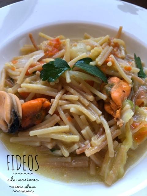 fideos marineros con verduras