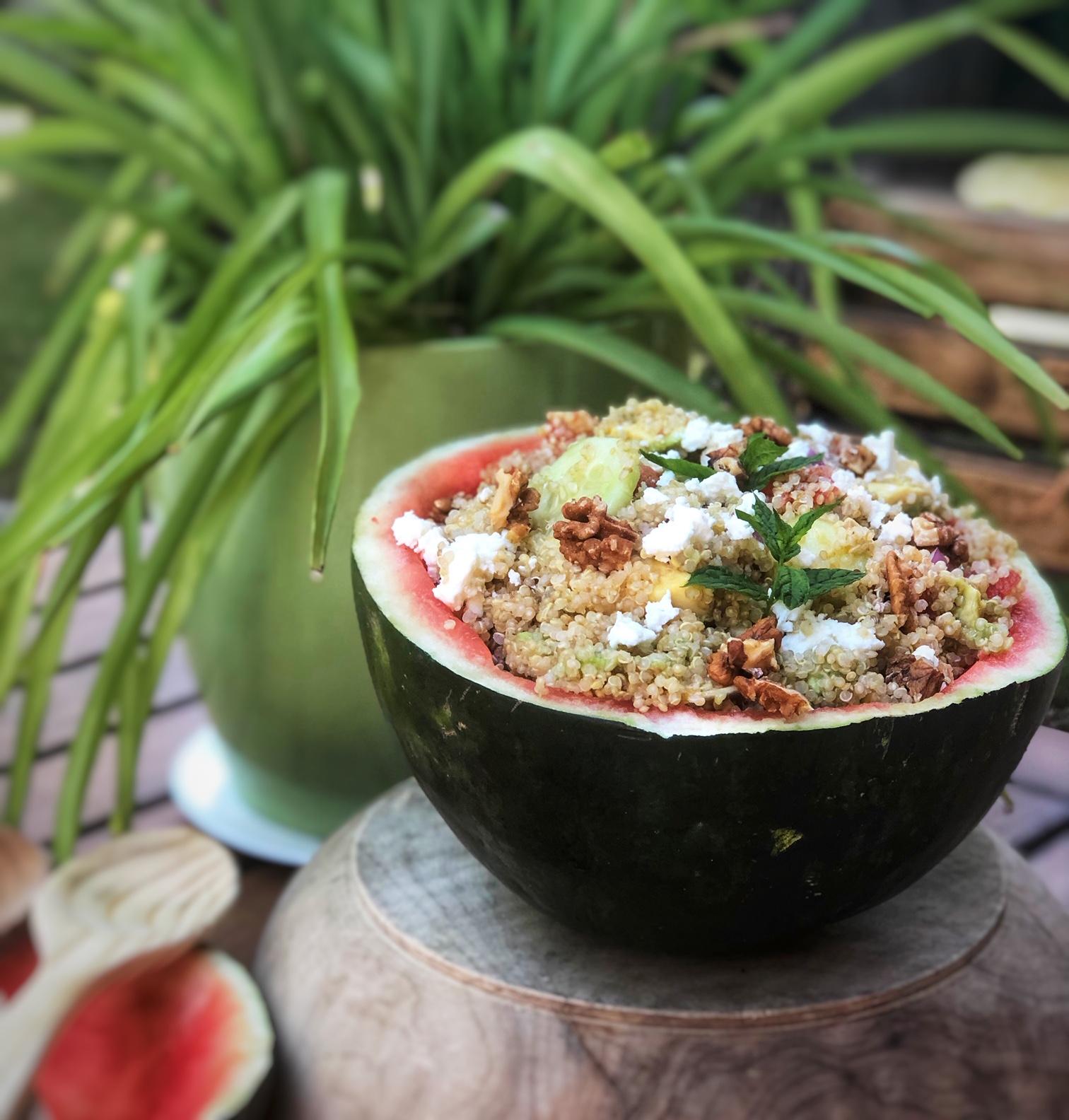 ensalada de quinoa y sandía