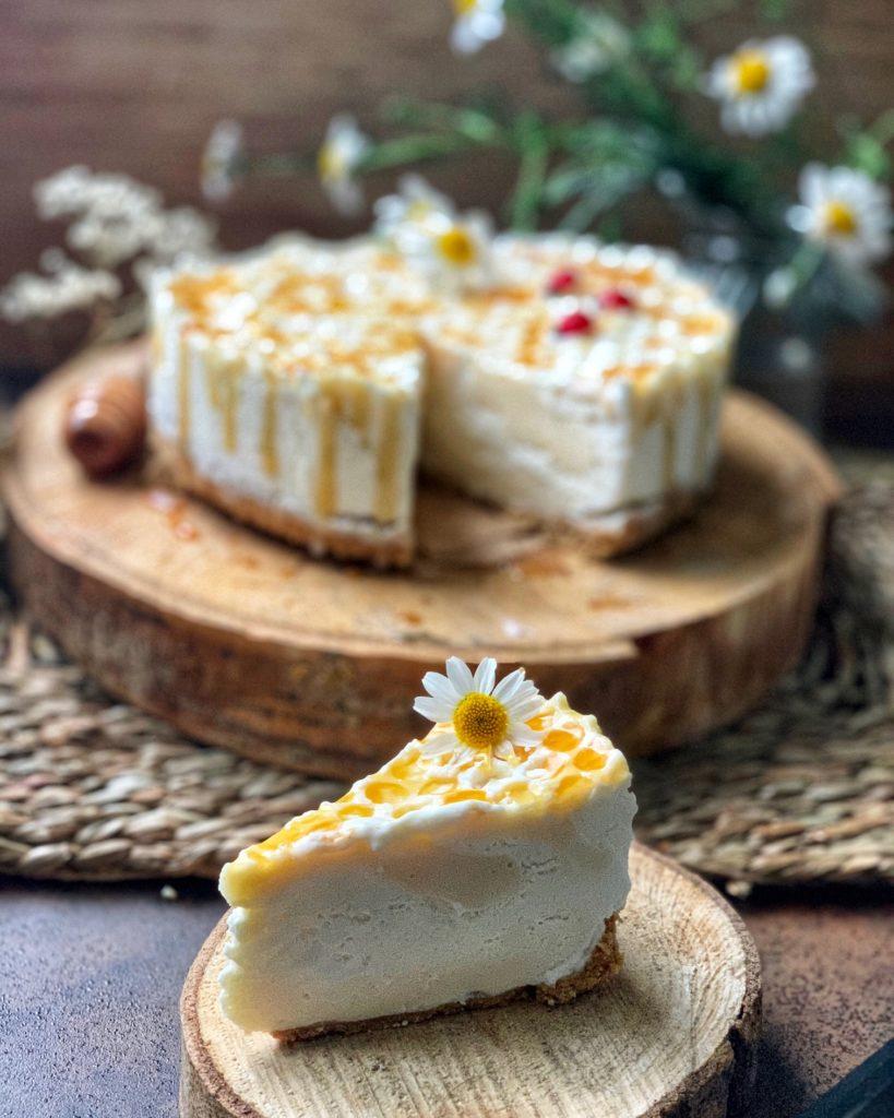 tarta helada de queso nata y miel