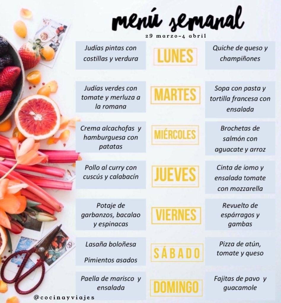Menú semanal sano, variado y equilibrado